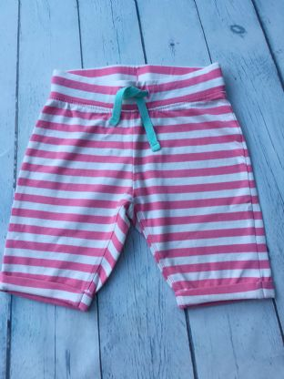 Mini Boden pink and white striped shorts age 2-3